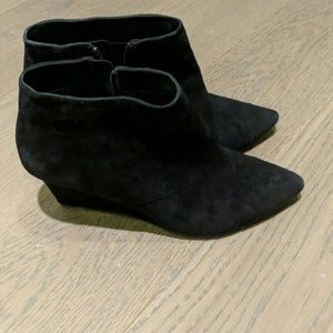 Galossi Pointed Toe Wedge Booties